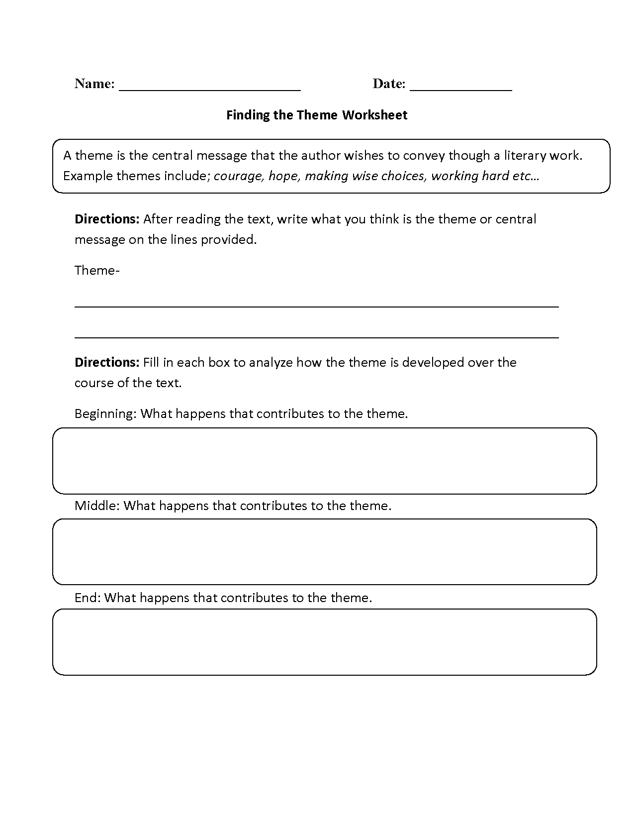 Finding The Theme Worksheet Beginner