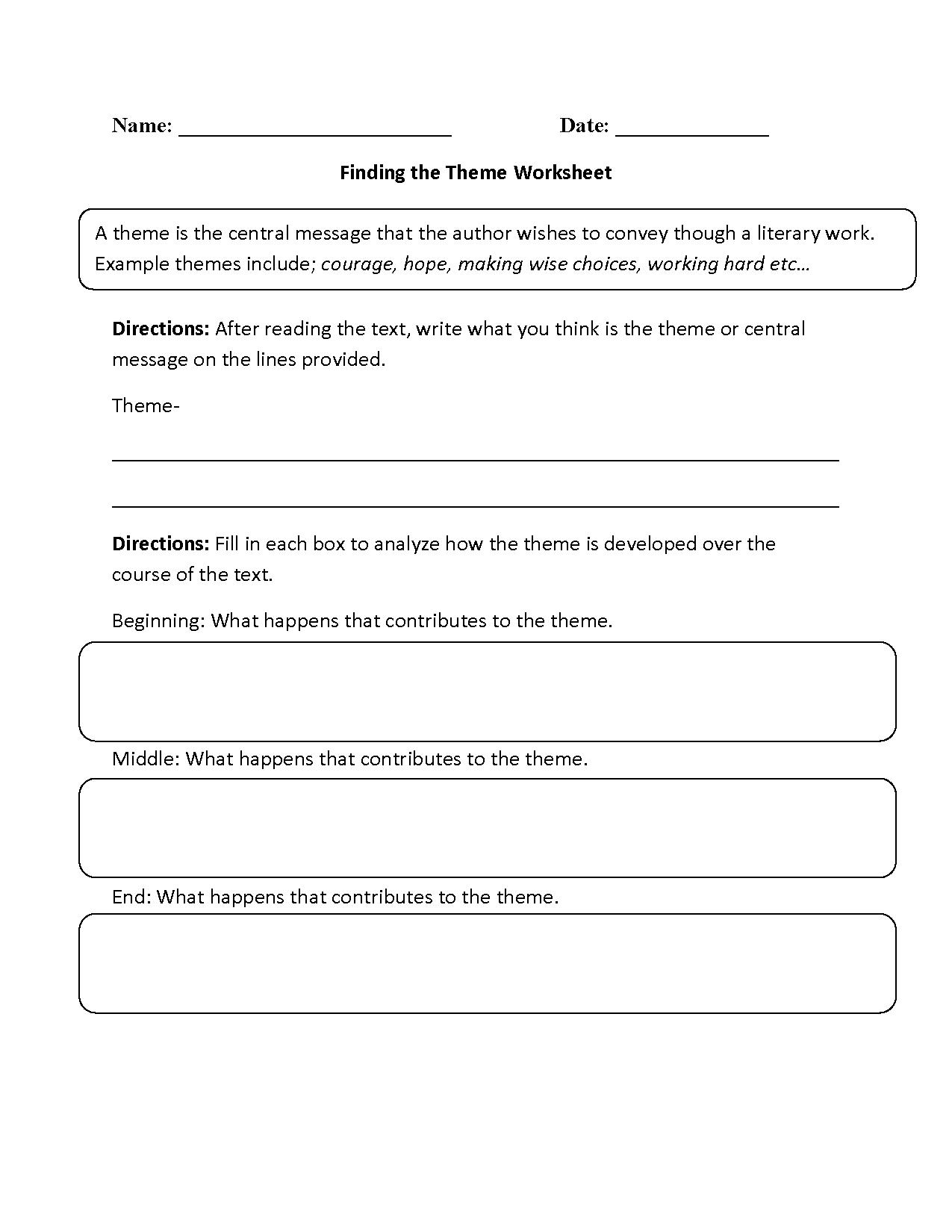Finding The Theme Worksheet Beginner
