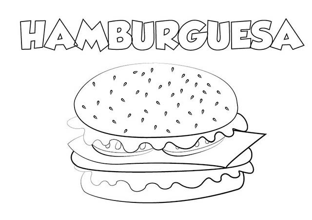 dibujo colorear hamburguesa | Dibujos de alimentos para ...