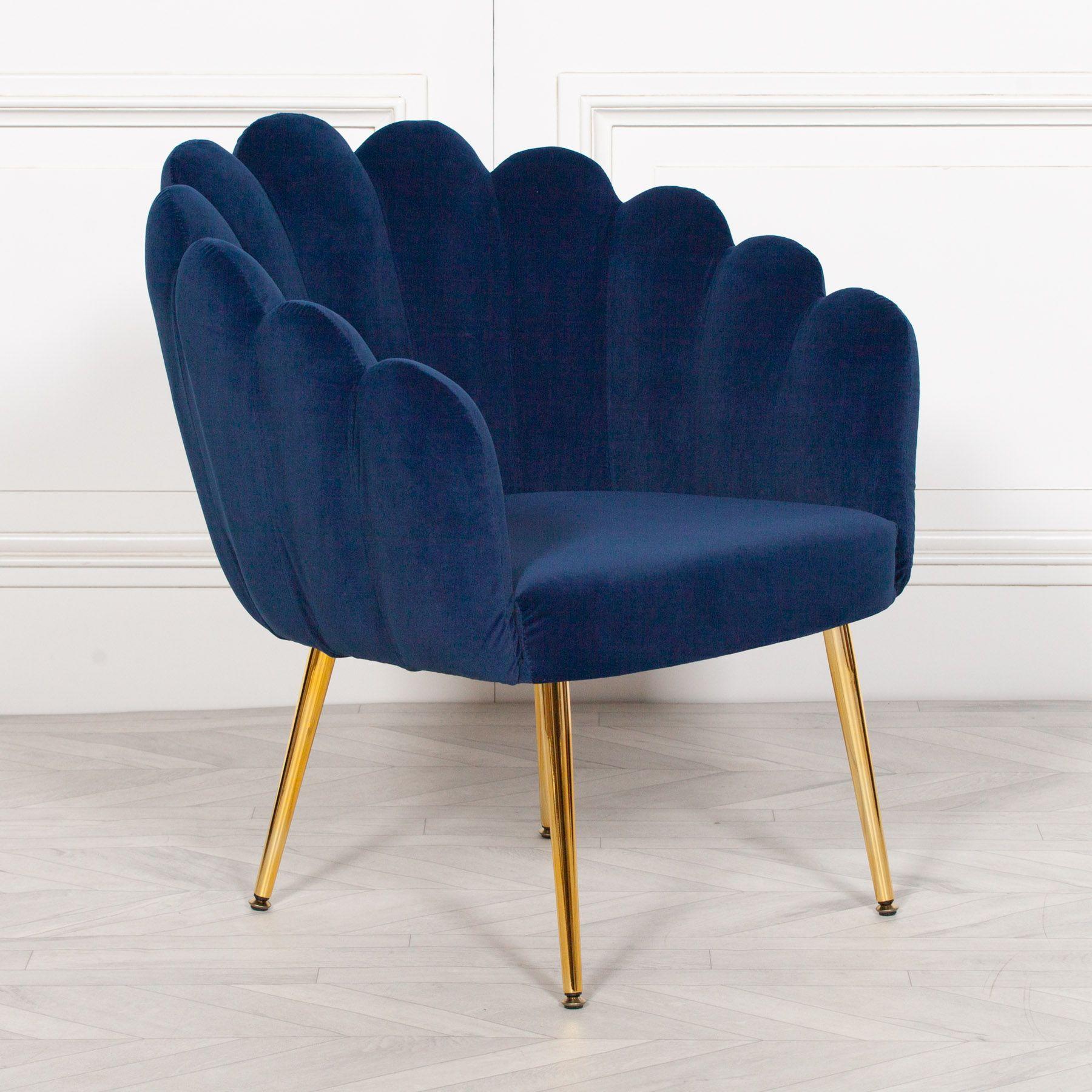 Aurora Art Deco Navy Blue Velvet Scalloped Occasional Chair Gold