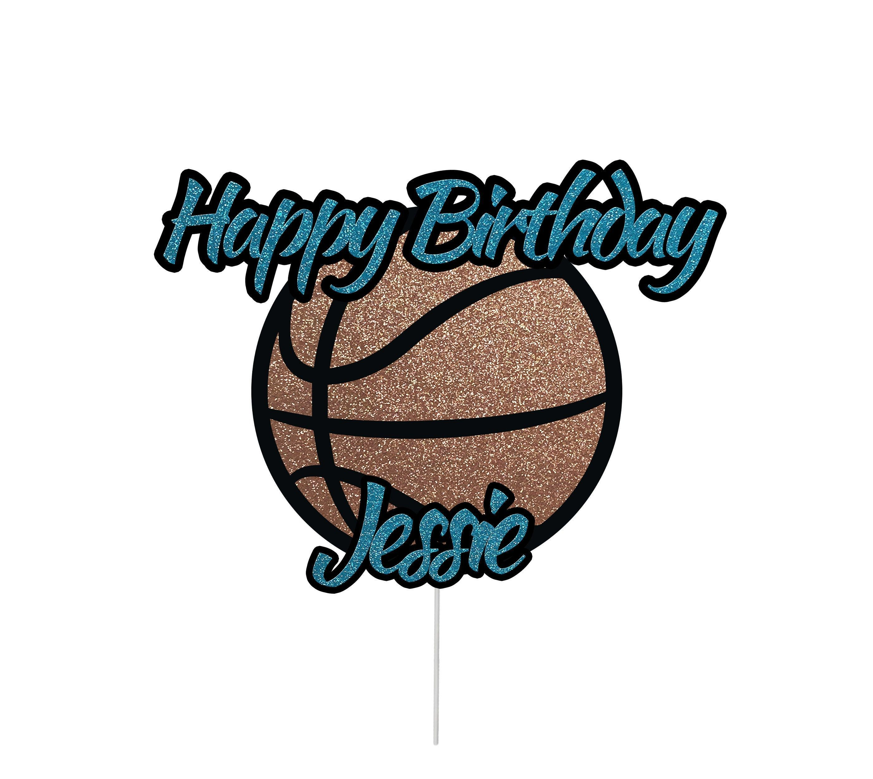 Personalized Basketball Happy Birthday Cake Topper With Name Boys Girls Basketball Cak Happy Birthday Cake Topper Happy Birthday Cakes Birthday Cake Toppers