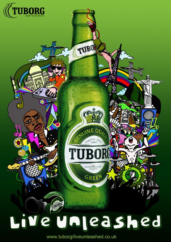 Tuborg Live Unleashed By V36a Retro Advertising Beer Advertisement Poster Prints