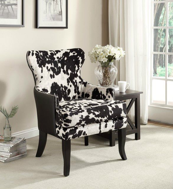Best New 35 H Black And White Cow Hide Print Wingback Arm Chair 640 x 480