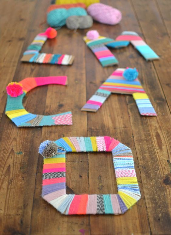 Photo of Yarn Wrapped Cardboard Letters