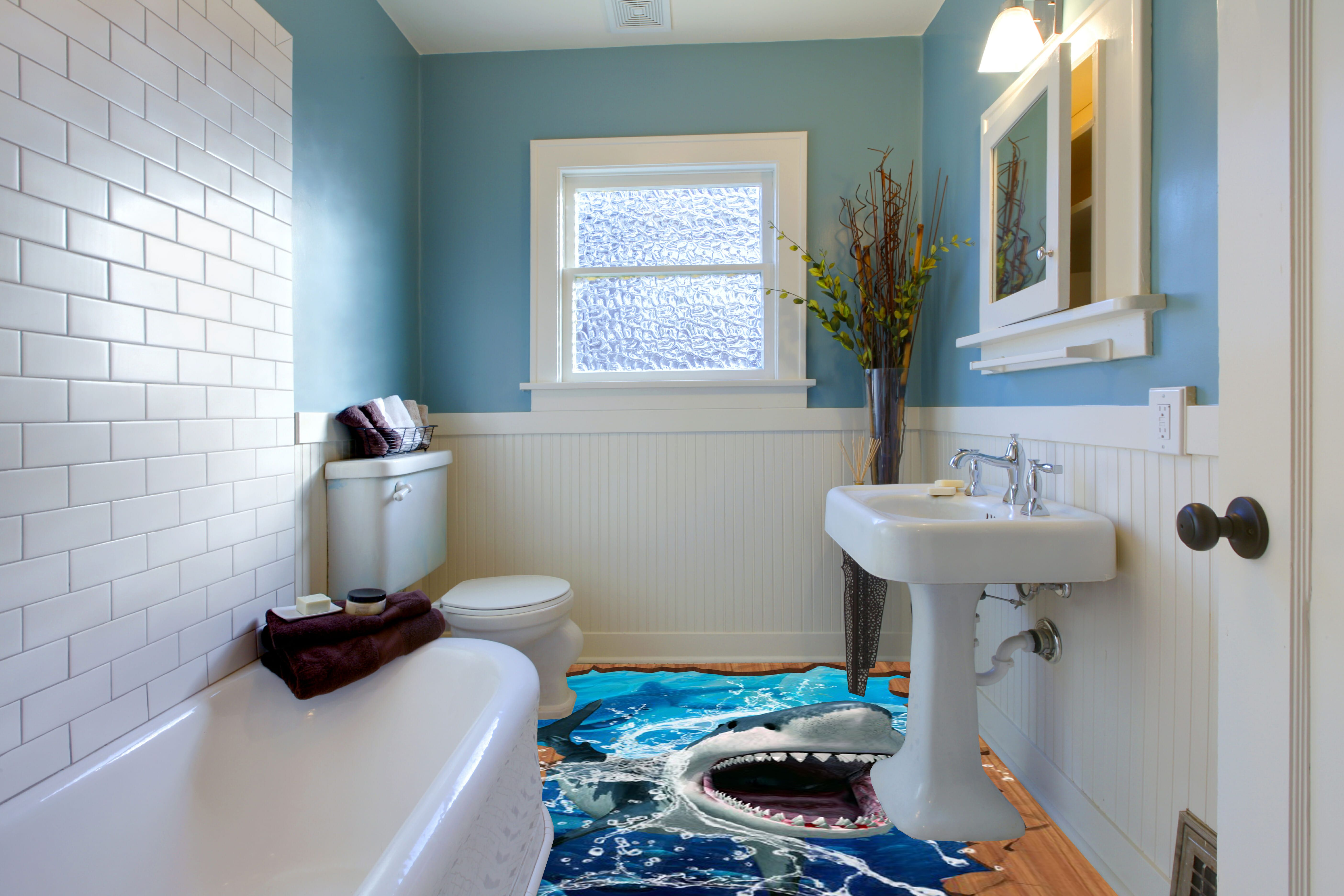 3d epoxy flooring for bathroom shark attack theme | flooring and ...