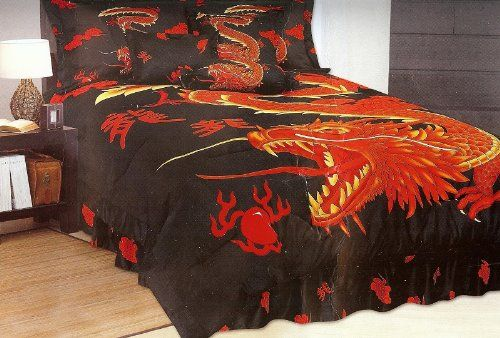 King Size Dragon Bed In A Bag 7 Pc Comforter Bedding Set