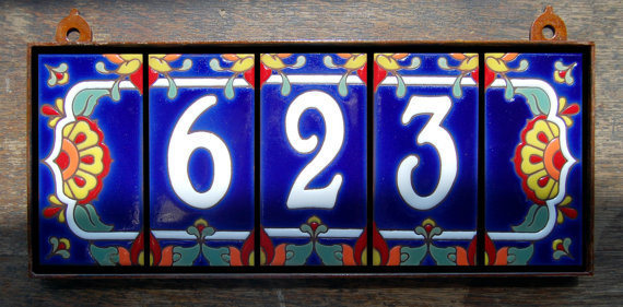 Custom Hand Glazed White On Royal Blue Talavera Tile House Tile House Numbers Ceramic House Numbers House Numbers