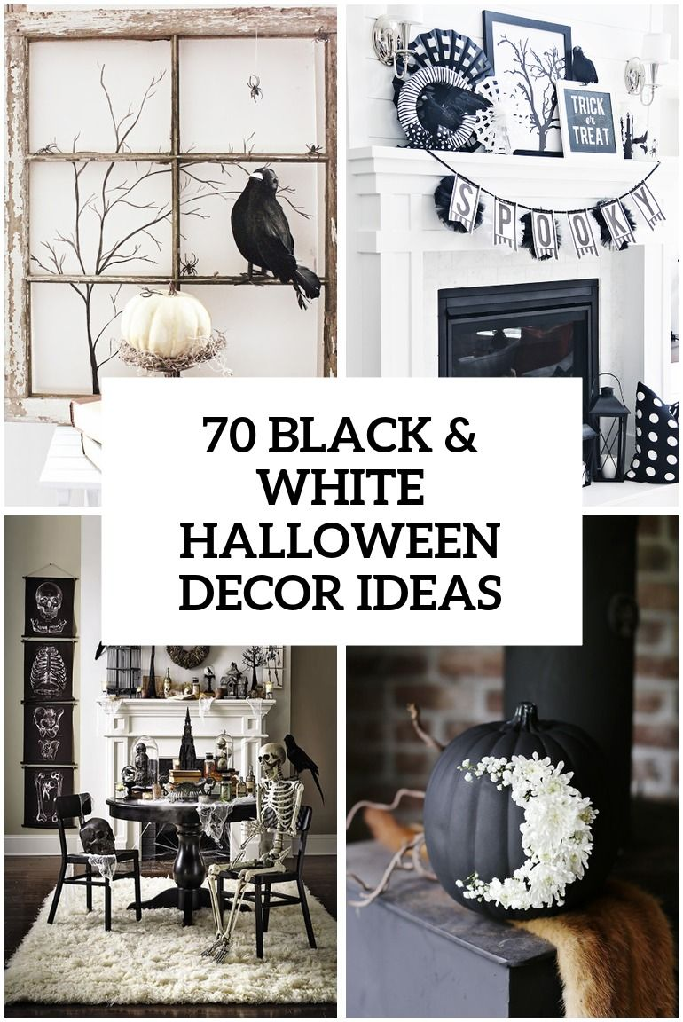 70 Ideas For Elegant Black And White Halloween Decor | Halloween