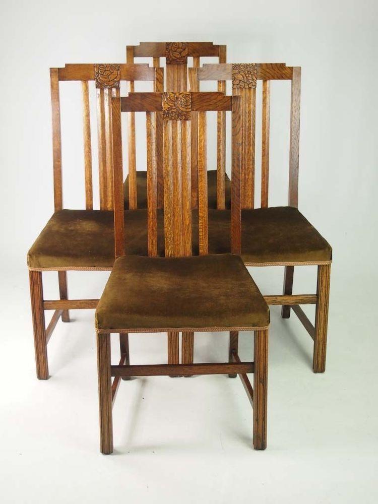 set 4 art deco oak dining chairs   vintage retro 1930s kitchen chairs   ebay set 4 art deco oak dining chairs   vintage retro 1930s kitchen      rh   pinterest com