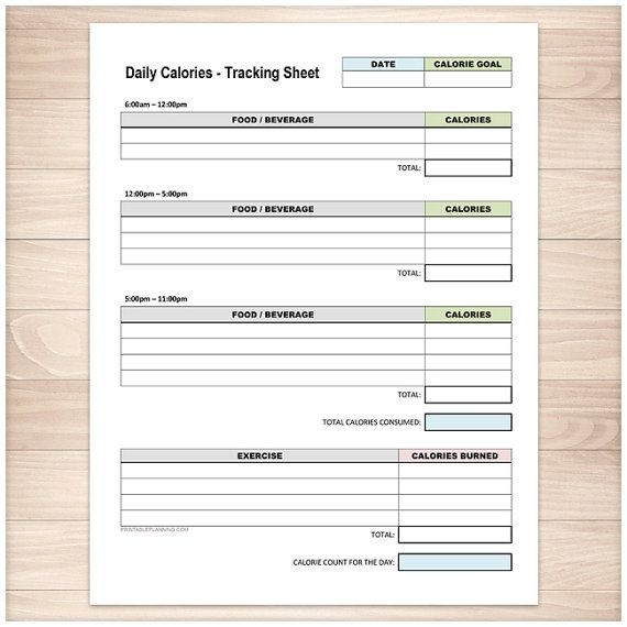 printable calories tracking sheet daily calorie counting and