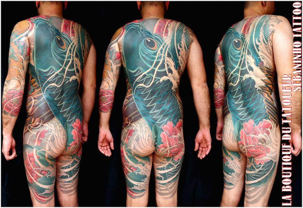 tatouage japonais d 39 une carpe koi g ante sur tout le dos sebaninho tattoo carpe tatouages. Black Bedroom Furniture Sets. Home Design Ideas