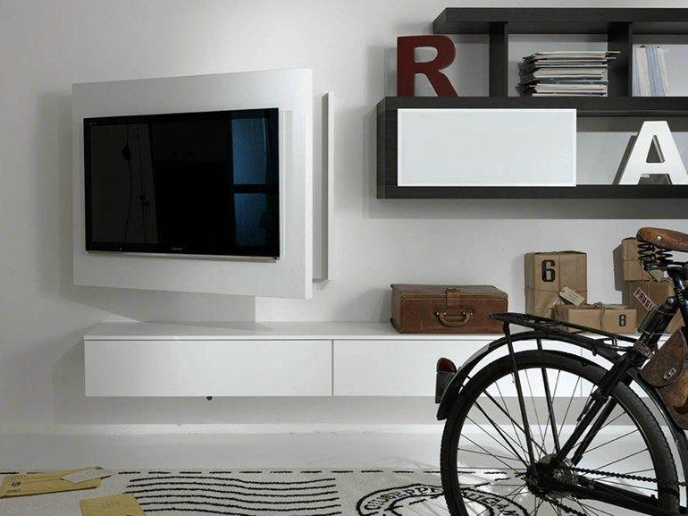 Wissmann Raumobjekte Porta Tv Girevole.Lacquered Adjustable Wall Mounted Tv Cabinet Rack Free Fimar