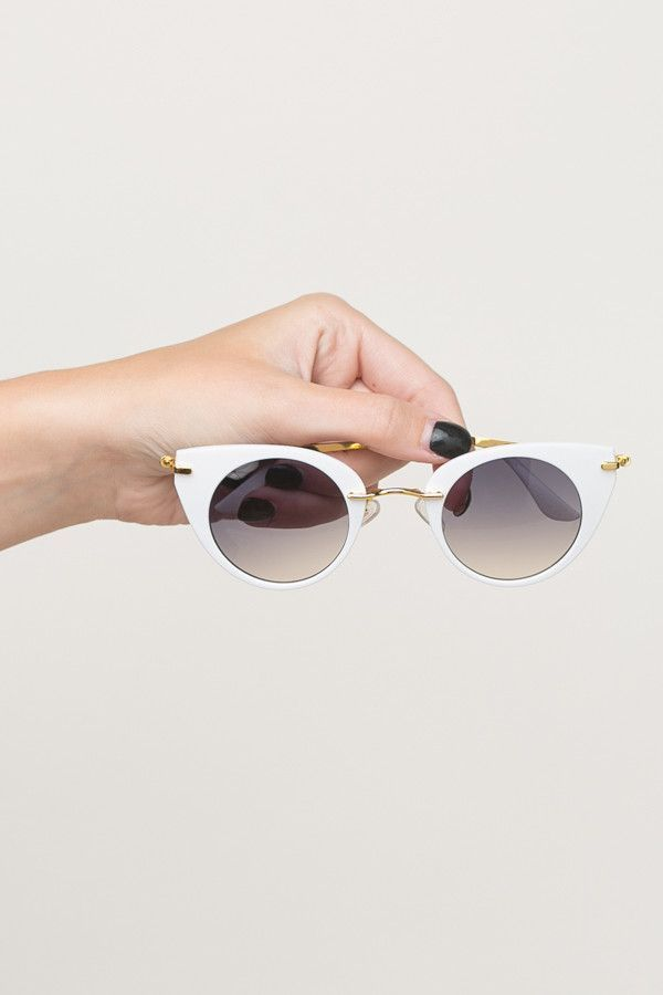 Vintage Vogue Sunglasses in White + Gold
