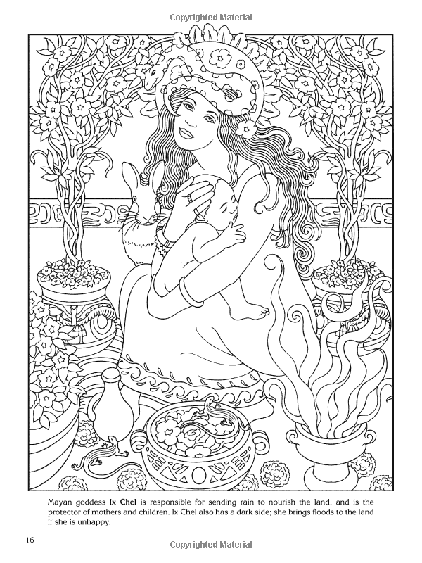 Goddesses Coloring Book Page By Dover Coloring Books Coloring Pages Free Coloring Pages