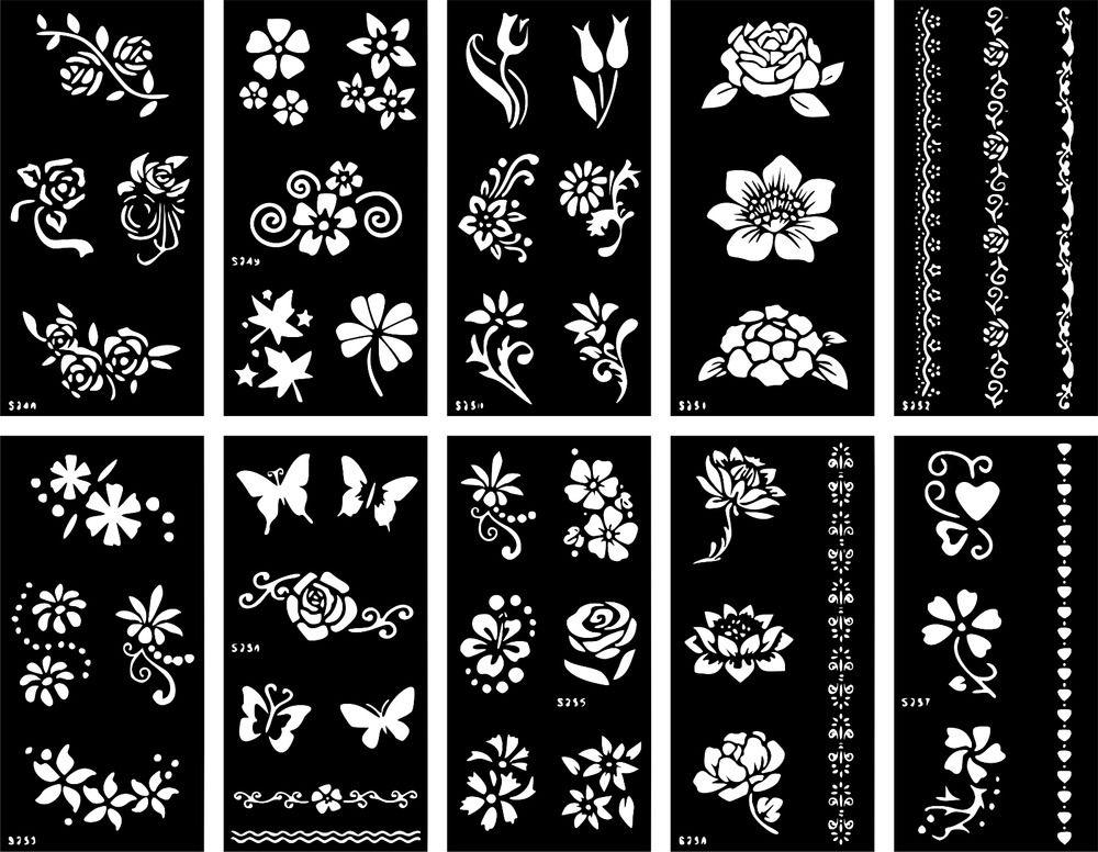 Henna Temporary Tattoo Stencil Airbrush Vinyl Mehndi Sticker Template Body Art Tattoo Stencils Henna Tattoo Stencils Henna Stencils
