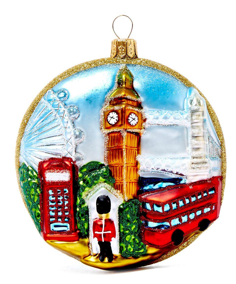 I Love England Glass Ornament Christmas