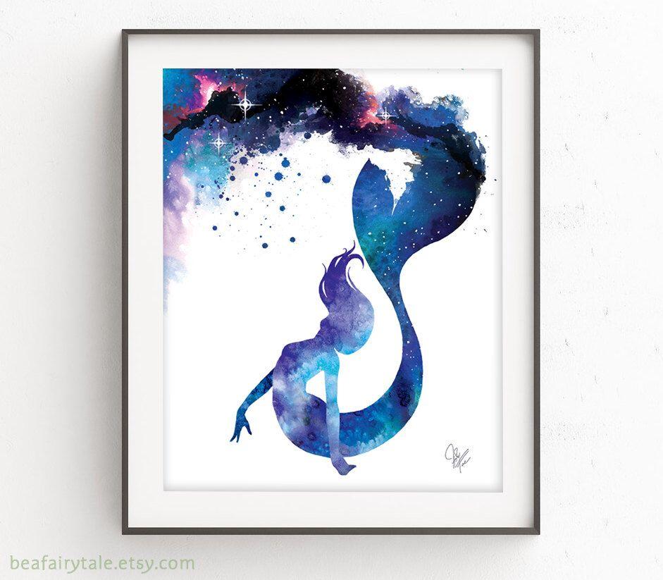 Watercolor Mermaid Print Galaxy Mermaid Painting Mermaid Lover Beach Decor Girls Bedroom Mermaid Gift Little Mermaid Mermaid Painting Watercolor Mermaid Watercolor Galaxy