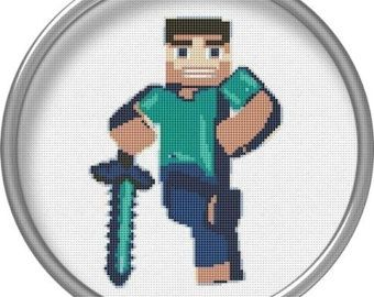 Elegant Minecraft Cross Stitch Pattern Steve Games Heroes Sword PDF Format  Embroidery Chart Minecraft Design Sewing Machine