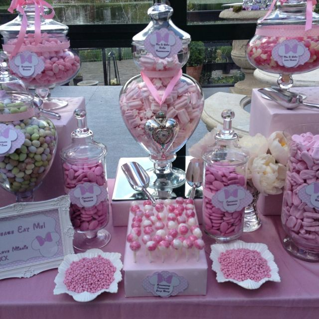 Minnie Mouse Themed Candy Buffet And Dessert Table From Www Sweetiefactory Co Uk Wedding Candy Table Candy Buffet Wedding Candy Bar Wedding