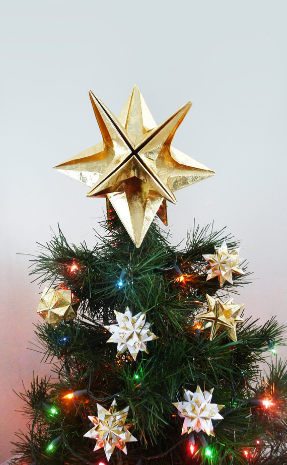 Papyrus Origami Christmas Tree Topper Gold Star Classic Original