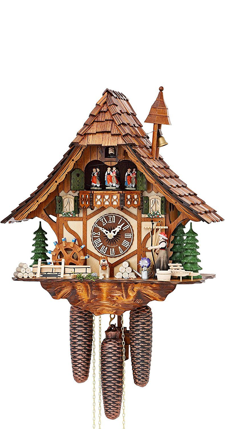 Amazon Com German Cuckoo Clock 8 Day Movement Chalet Style 16 00 Inch Authentic Black Forest Cuckoo Clock By Hekas Ho Cuckoo Clock Black Forest House Clock