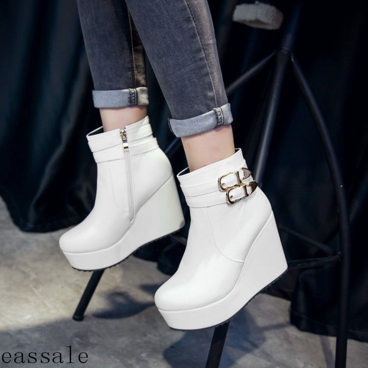 0469175ae1b9 Fashion Womens Buckle High Wedge Heel Bootie Side Zip Platform Shoes Ankle  Boots