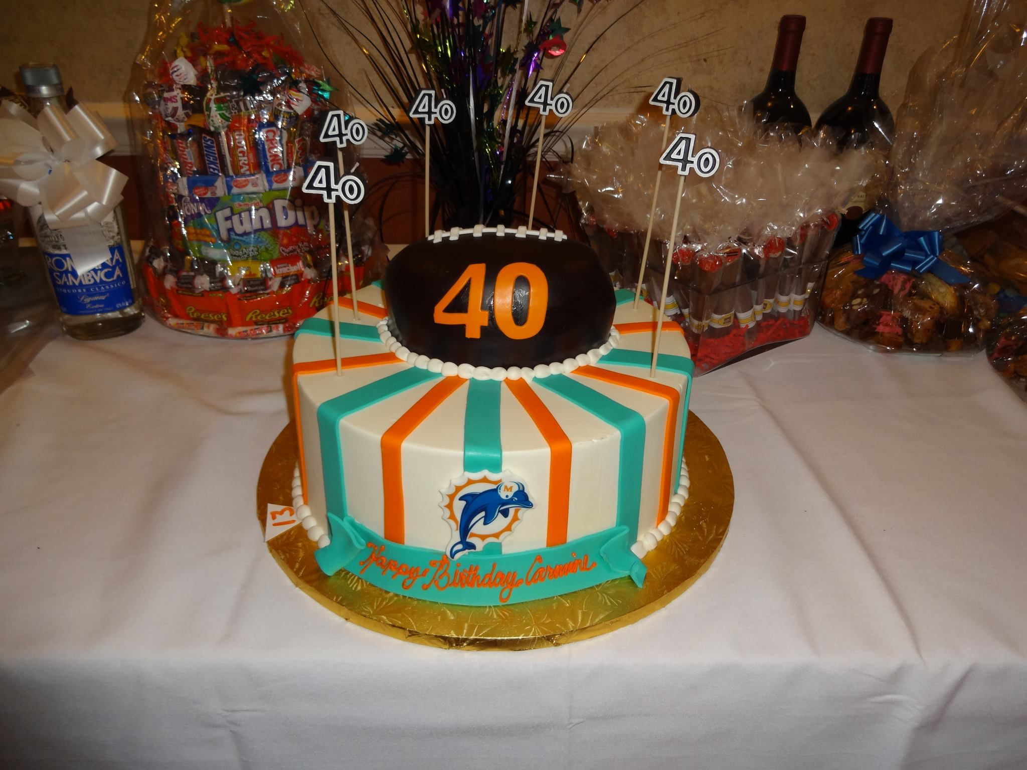 miami dolphins themed 40th birthday cake for my fiance u0026 39 s birthday party