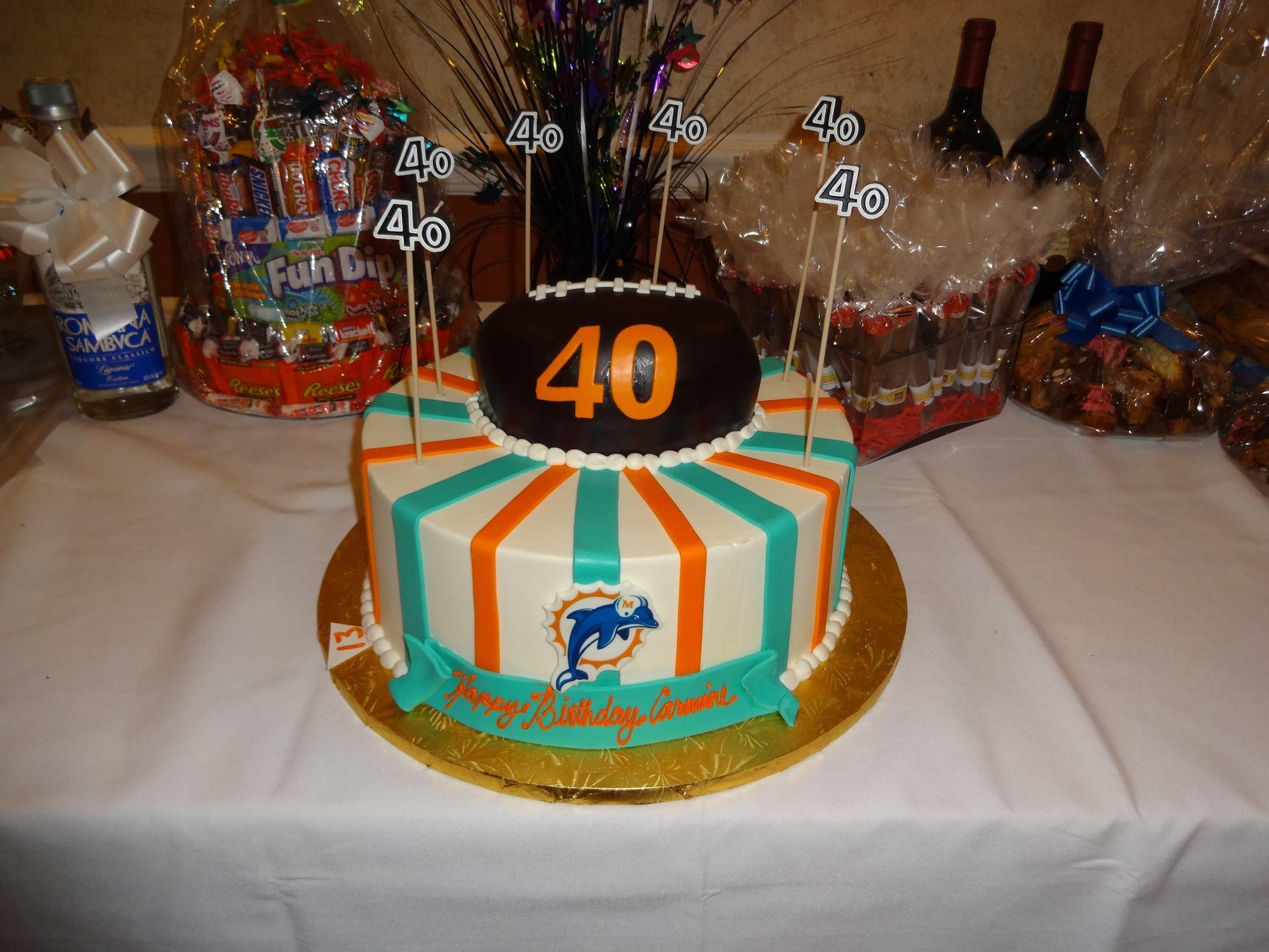 Miami Dolphins Themed 40th Birthday Cake For My Fiances Birthday