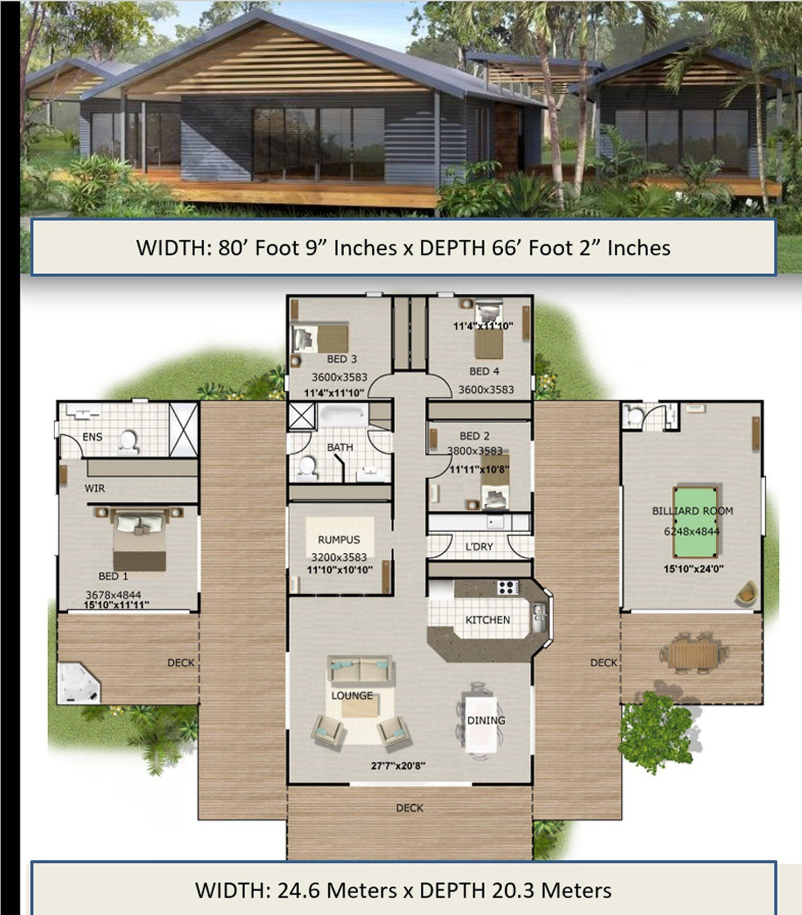 Pavilion Style Home Design 4 Or 5 Bedrooms 2 1 2 Bathrooms Etsy Modern House Plans House Plans House Design