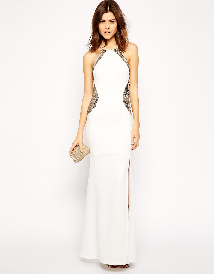 Tfnc maxi dress with fishtail and lace insert trim