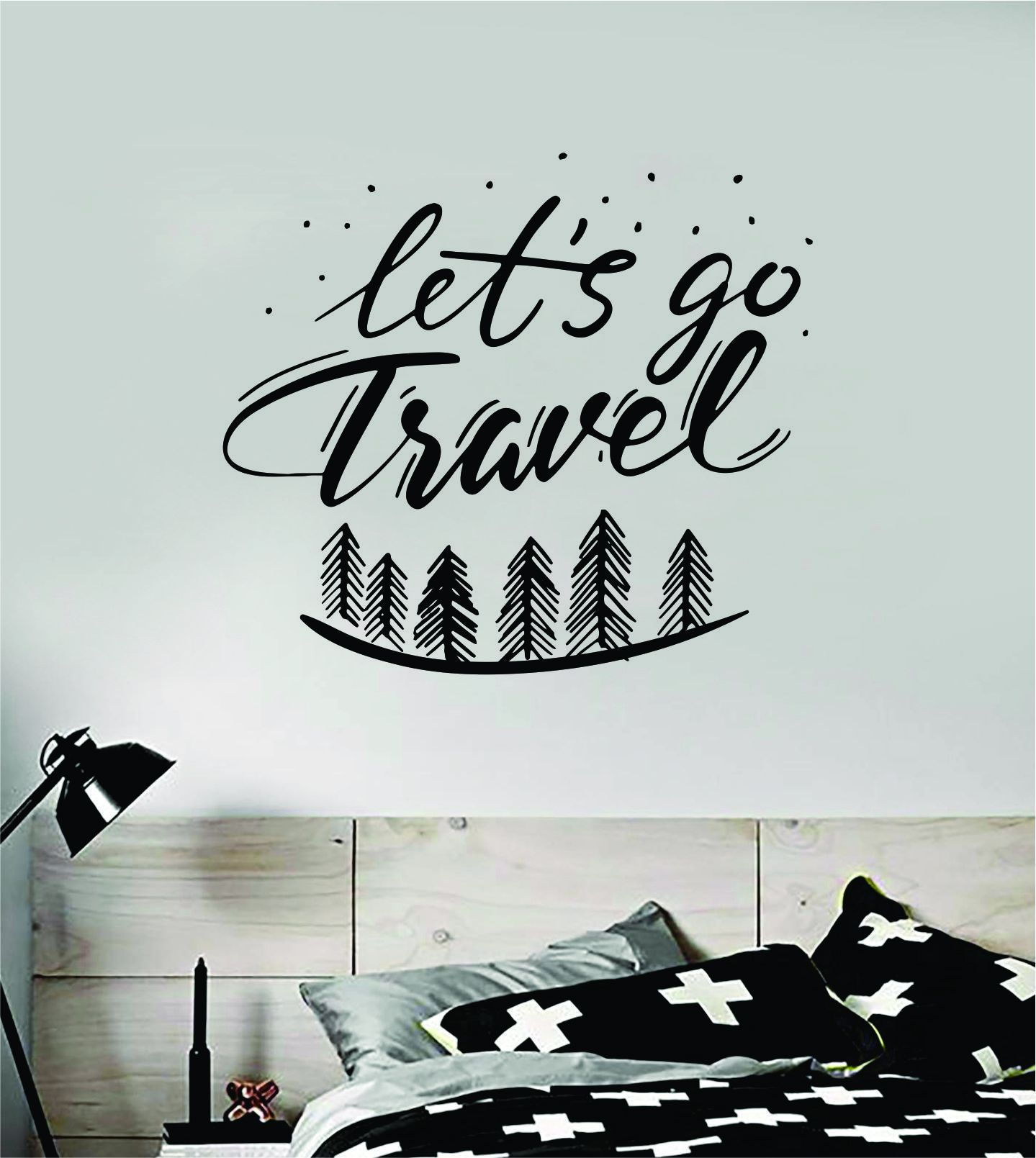 Let's Go Travel V2 Wall Decal Sticker Bedroom Room Art Vinyl Beautiful Inspirational Adventure Mountains Wanderlust Explore Teen Kids Baby Nursery Trees - grey