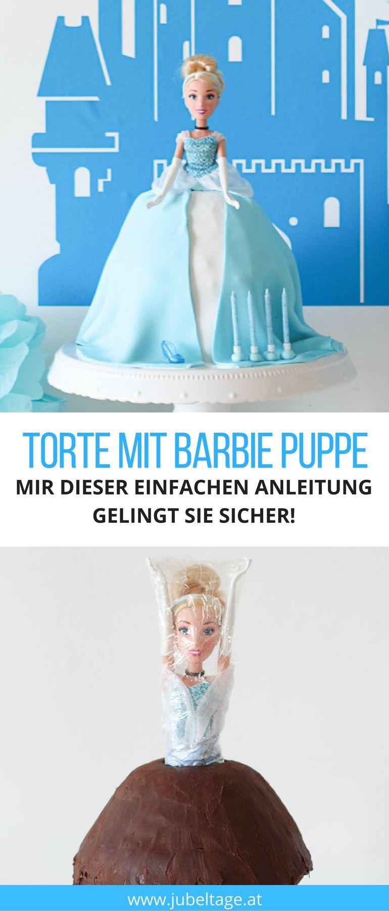 Einfache Anleitung für eine schnelle Torte mit Barbie Puppe zum Geburtstag #barbie