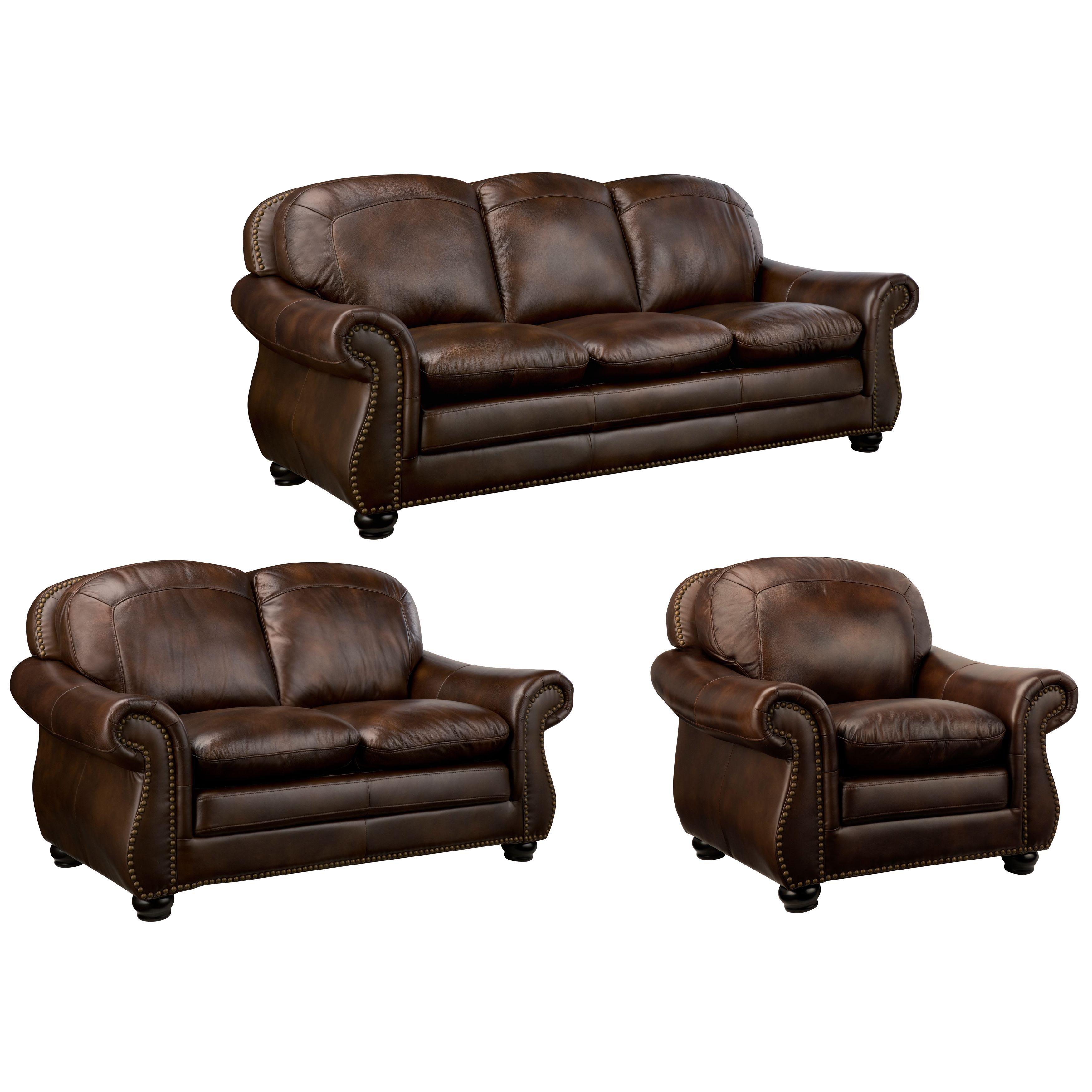 Monterrey Premium Brown Top Grain Leather Sofa Loveseat and Chair