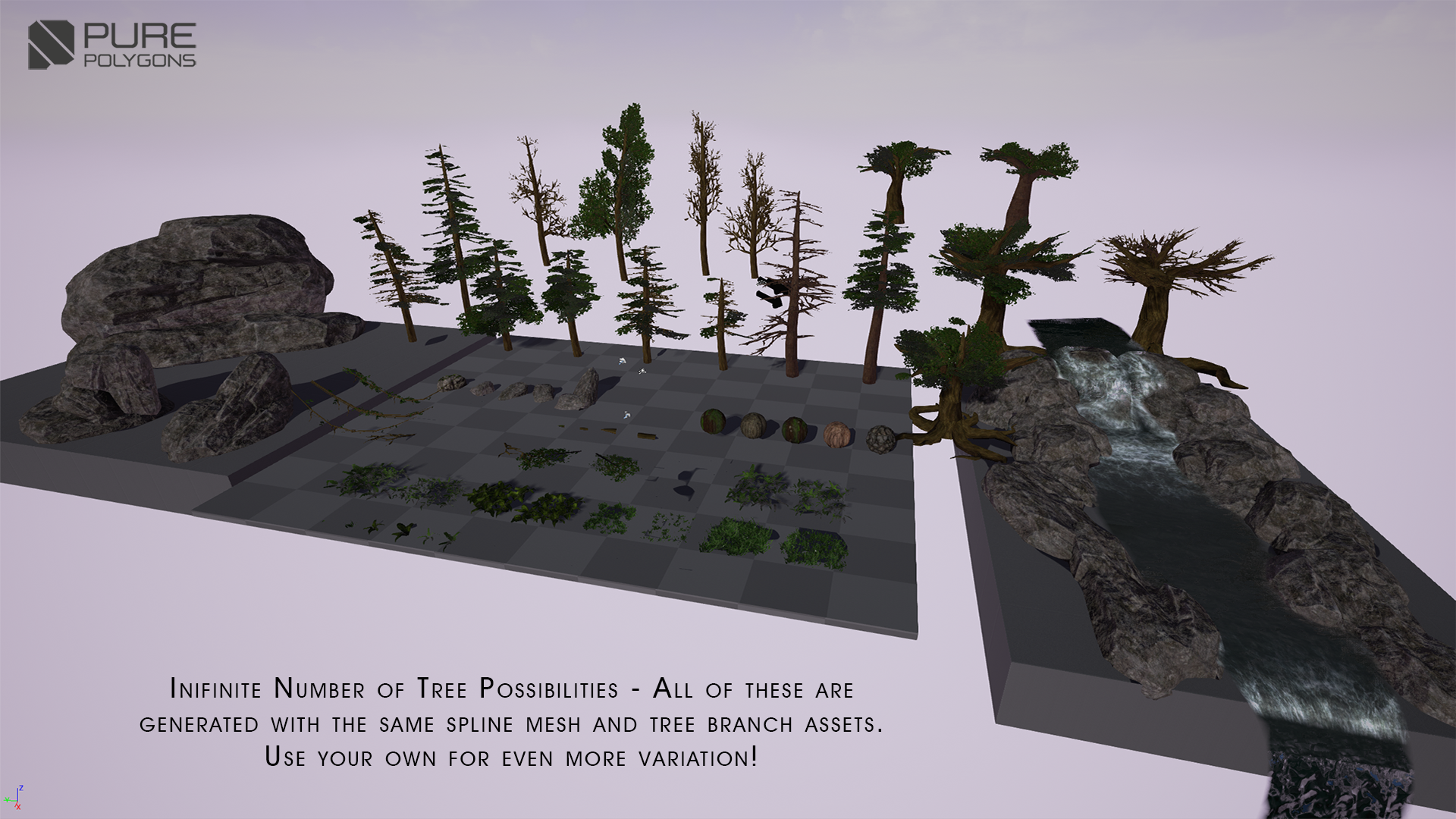 Procedural Nature Pack Vol 1 by PurePolygons in Environments