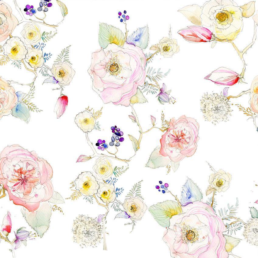 floral white vine watercolor wallpaper baby kreiss due may 39 16 pinterest dessin et foulard. Black Bedroom Furniture Sets. Home Design Ideas