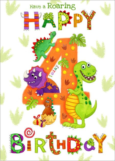 Clare Caddy Juvenile Birthday Age 4 Dinosaur Text Jpg Happy