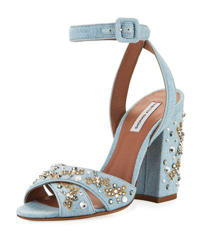 b4e52abce2ea TABITHA SIMMONS CONNIE SEQUINED DENIM ANKLE-STRAP SANDAL.  tabithasimmons   shoes