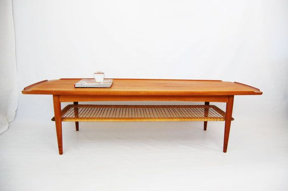 Poul Jensen Teak Coffee Table With Cane Shelf Made In Denmark Teak Coffee Table Coffee Table Cane Shelf