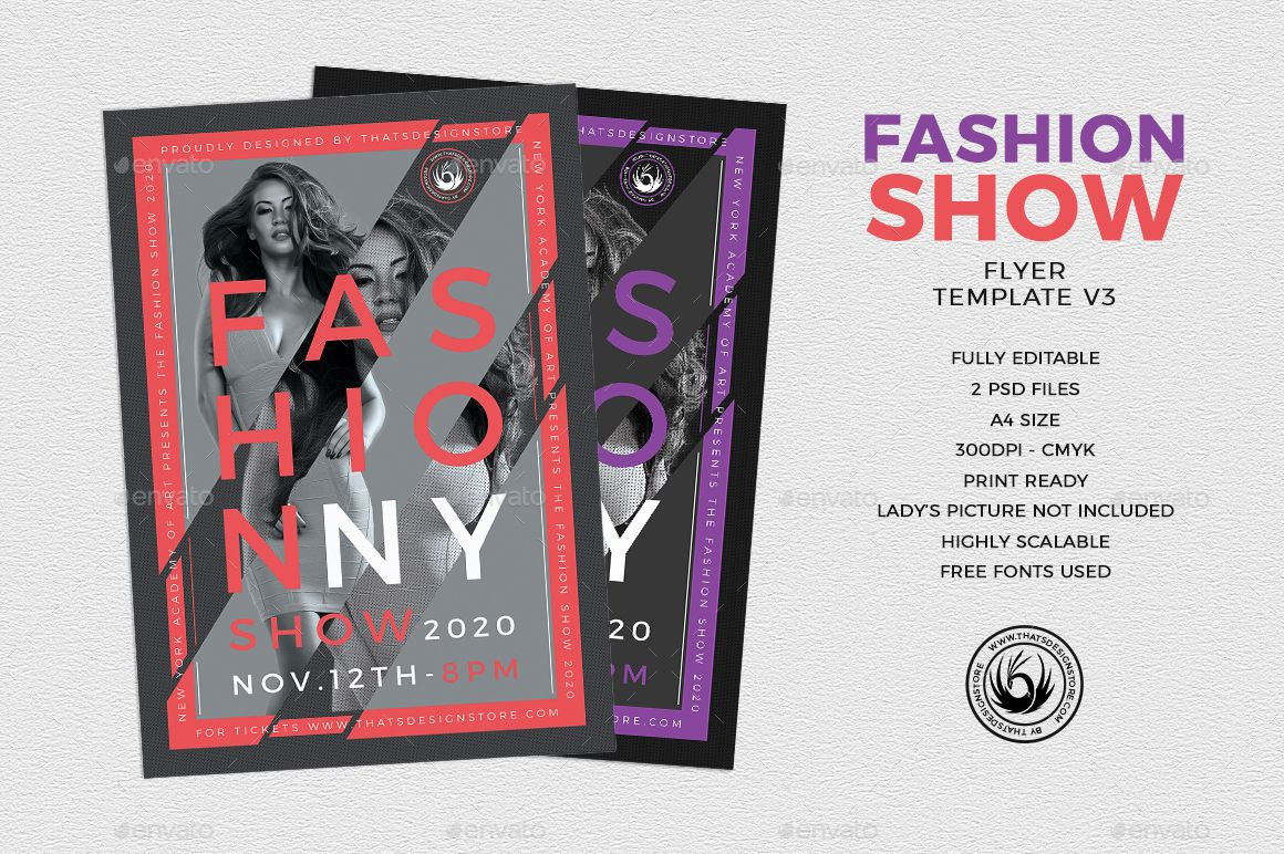 Fashion Show Flyer Template V3 Agency Anniversary Artist Beauty Birthday Catwalk Choir Cly Collection Concert Defile Dj