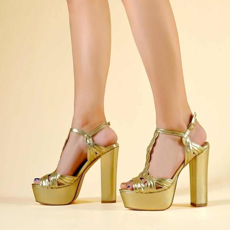 Details about  /Womens High Heels Clear Rhinestone Peep Toe Sandals Gold Evening Shoes Plus Size