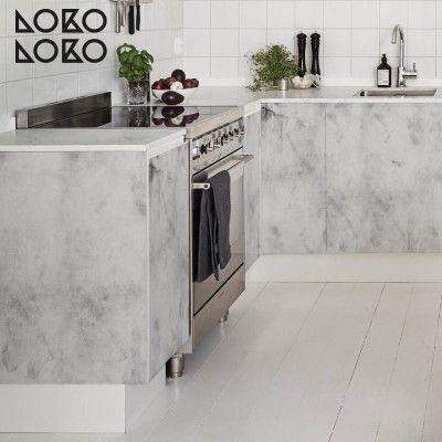 Vinilo para revestir muebles modernos de cocina con elegante cemento