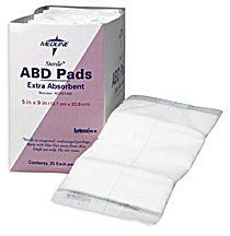 """NON21453H Medline 20 EA/BX PAD,ABDOMINAL,8 X 7.5,STERILE Medline NON21453H by Medline. $3.93. Medline NON21453H PAD,ABDOMINAL,8"""" X 7.5"""",STERILE ADHESIVES, BANDAGES, DRESSINGS & SPONGES Combine Dressings PAD,ABDOMINAL,8"""" X 7.5"""",STERILE Medline Abdominal (Abd) Pads: Medline'S Super Absorbent Abdominal Pads Feature A Soft Non-Woven Outer Layer That Quickly Wicks Fluid To A Cellulose Center. This Thick Layer Of Cellulose Quickly Absorbs And Disperses Fluids La..."""