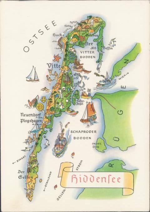 Karte Norddeutschland Ostseekuste.Hiddensee Ostsee Landkarte Deutschland Germany