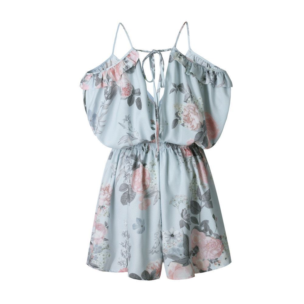 Summer Elegant V Neck Floral Women Sleeveless White Jumpsuits Rompers Casual Beach Overall Size