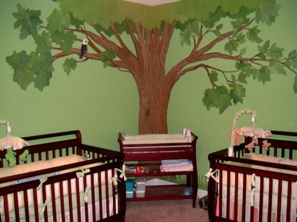 Twins Nursery,smart Idea By Having The Changer In The Middle