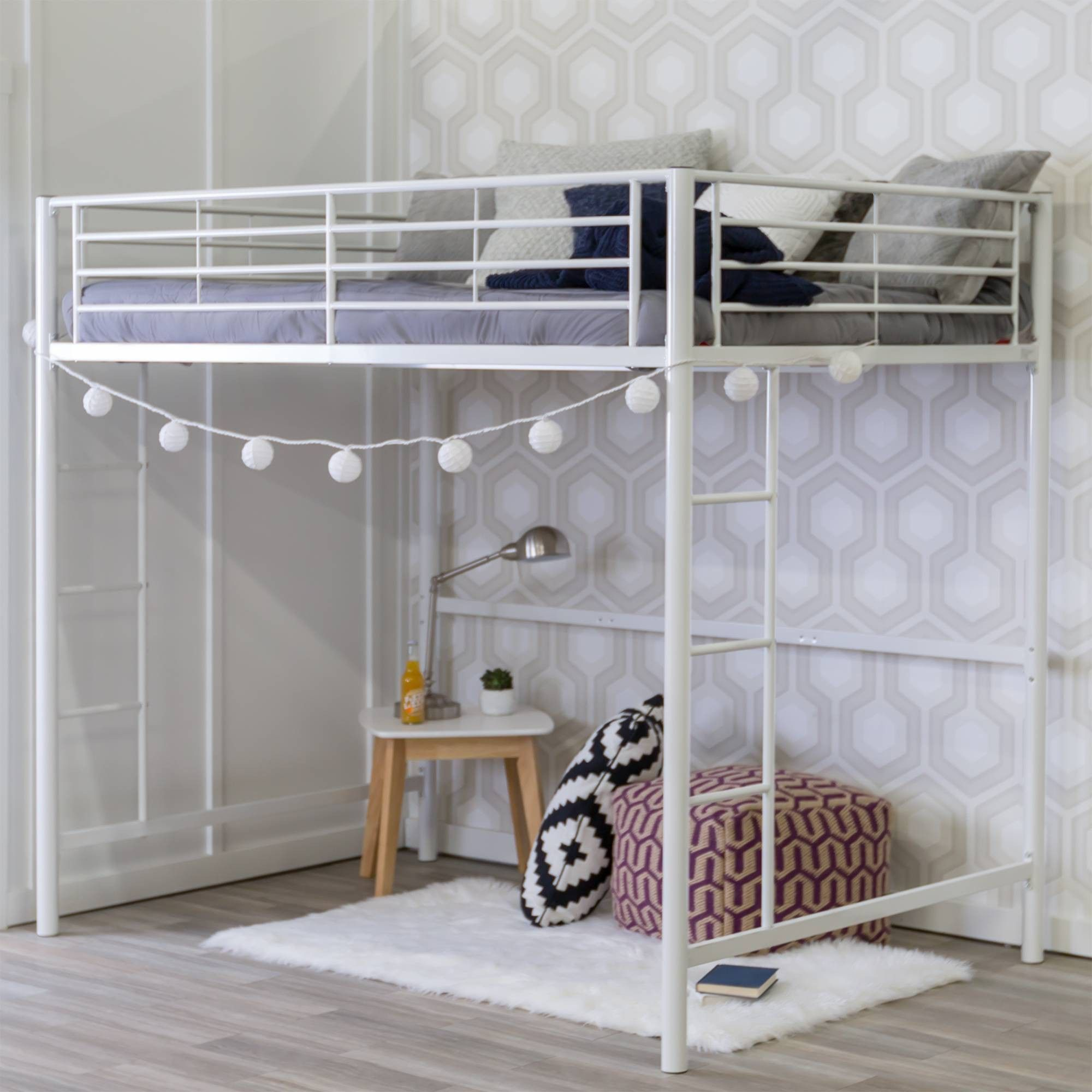 Best Premium Metal Full Size Loft Bed White Saracina Home 640 x 480