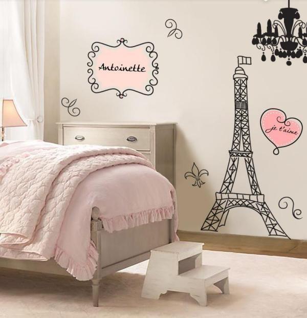 Rosa Kinderzimmer Madchen Retrocharme Eiffelturm Wandtattoo Paris