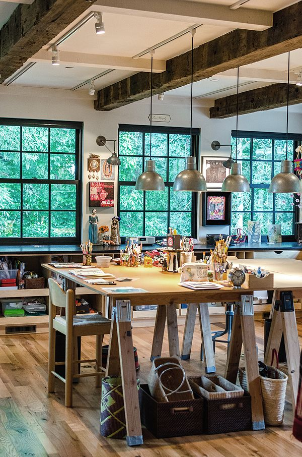 decorationsindustrial home art studio idea with metal pendant light also wood ceiling and hardwood crafting tables home art studio ideas for artistic house - Light Hardwood Restaurant Decoration