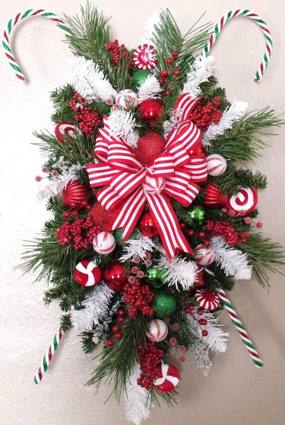 Best 11 PEPPERMINT STICKS Christmas SWAG Wreath Silk Holiday Door image 4