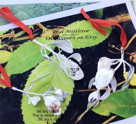https://www.etsy.com/listing/208390057/real-mistletoe-sprig-branch-silver, Woodsmith on Etsy